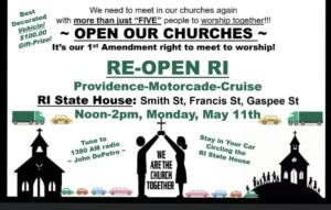Re-Open Rhode Island Motorcade Rally set for Monday May 11, 2020 noon-2:PM